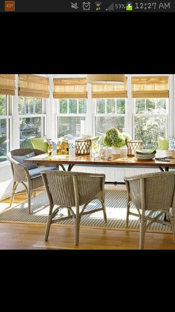 Table, chairs, roll up blinds..
