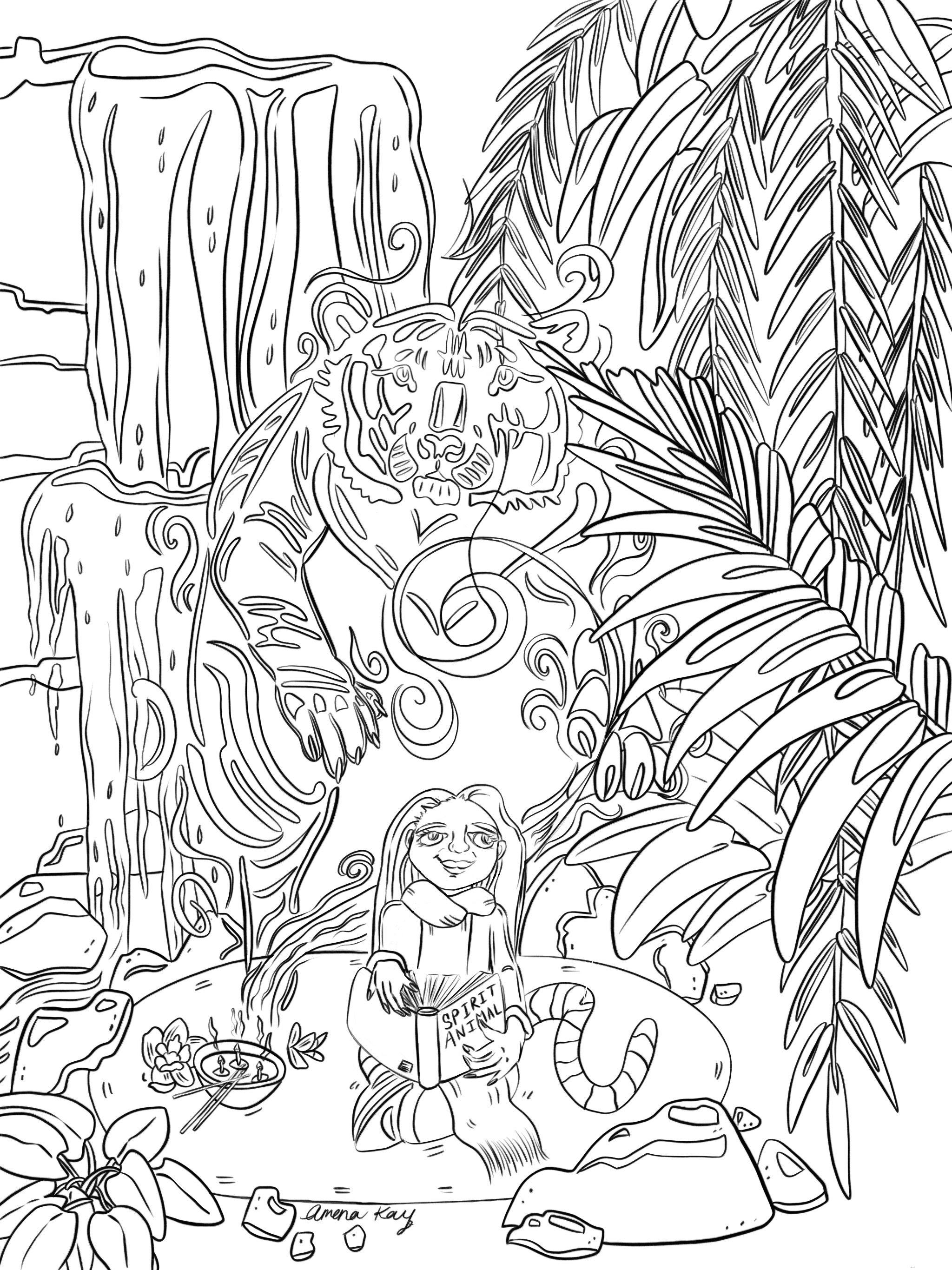 spirit animal coloring page amena kay free coloring pages
