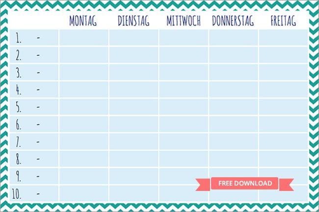 Stundenplan ausdrucken   free printable Download | school