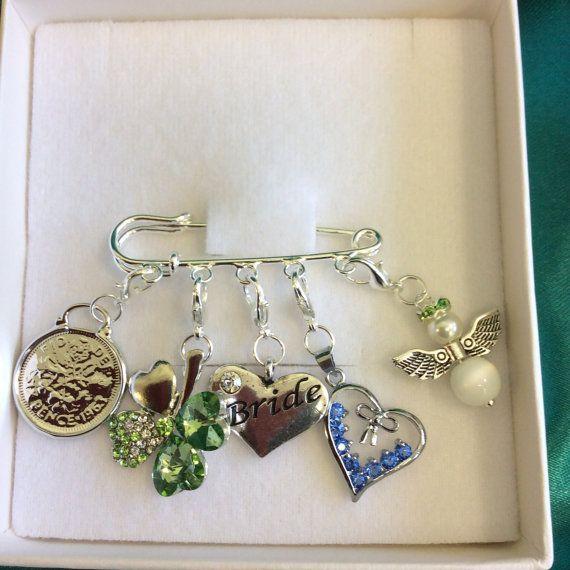Irish Bridal Garter Charm Pin, Wedding Gift. Something Old