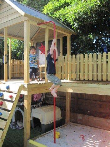 outlook fort with bridge | kid's playhouses / platforms | Pinterest on playhouse fort, swing set fort, diy fort, snow fort, build a back yard fort,