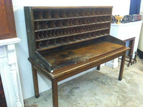 Rare Original Antique 1930s Wood Postmaster Mail Sorter Cabinet On