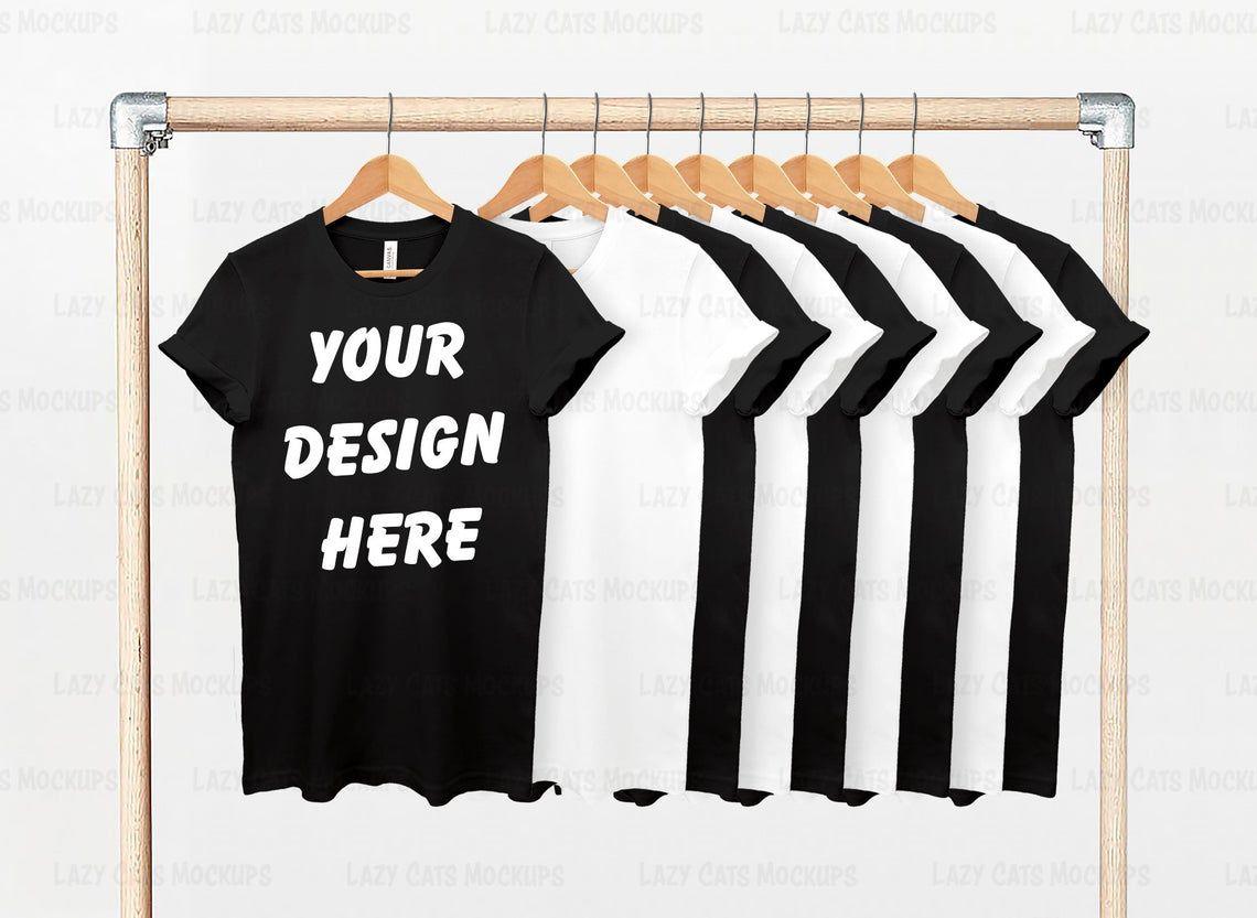 Download Black White Bella Canvas 3001 Mock Up With Hanger Bella Etsy Clothing Mockup Black And White Shirt Mockup