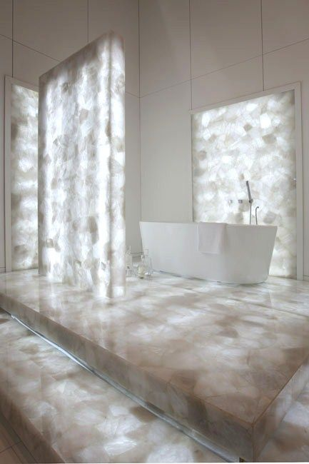 Backlit Concetto stone bath First Street Place Pinterest