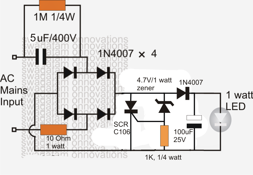 The Content Explains A Very Simple Yet Effective 1 Watt Led Driver Circuit Which Can Be Operated With 220v Or 110v Inputs Led Drivers Led Circuit Projects