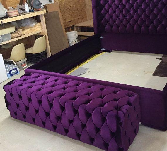 Tufted Bed Bench Upholstered Bench Purple Velvet By
