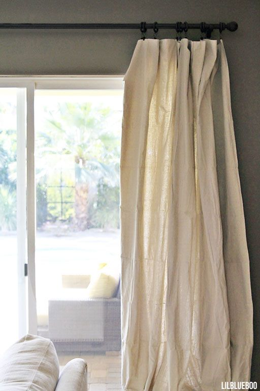 DIY Curtains Made Out Of Painters Drop Cloth Canvas Via Ashley Hackshaw Lil Blue Boo