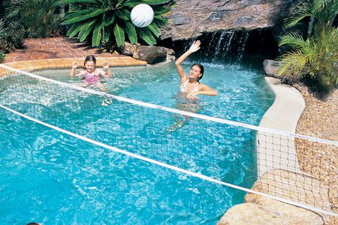 Turn Your Swimming Pool Into An Aquatic Volleyball Court With The Dunnrite Provolley Swimming Pool Vol Pool Volleyball Net Swimming Pool Games Volleyball Set