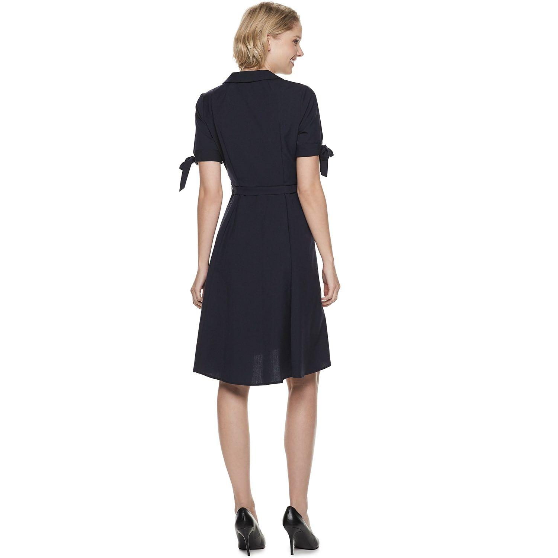 Womens Sharagano Faux Wrap Shirt Dress Vintage Styles Clothing