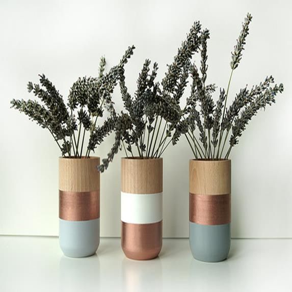 Set Of 3 Painted Wooden Vases Home Decor Bronze | The Block Shop   Channel 9