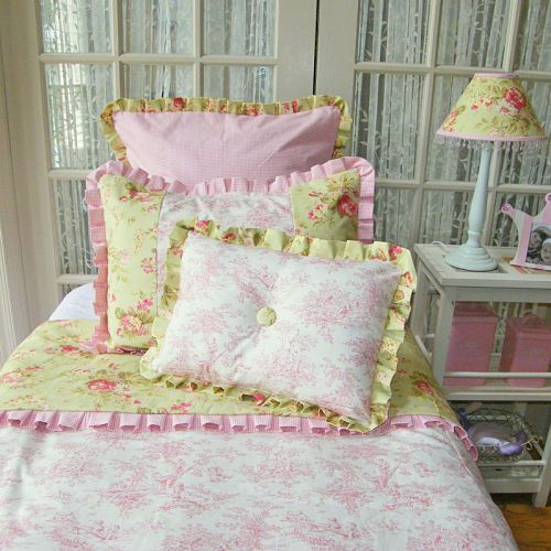 Pink And Green Floral Toile Bedding Set Toile Bedding Bedding Inspiration Floral Toile