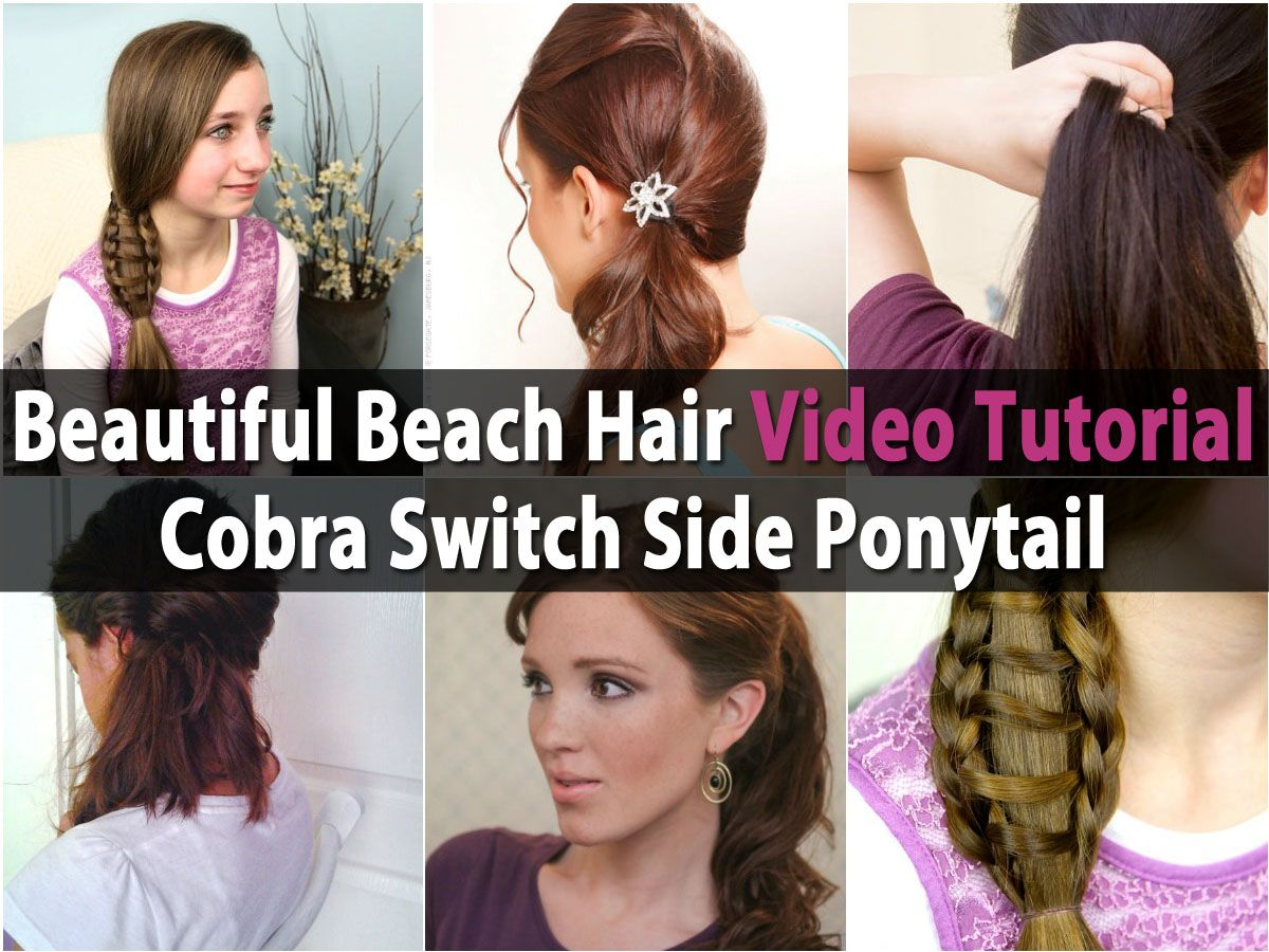 A cobra switch is not as difficult to create as it sounds and this side ponytail is a great summer look. You begin by simply sweeping your hair to one side – whichever side you prefer. Separate into two layers, one on top and one on bottom. Now, tie the top layer up with a ponytail. The switch...