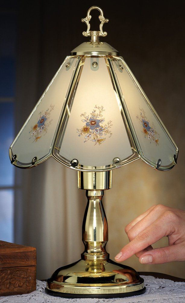 Blue Floral Glass Shade Table Touch Lamp Table Lamps Amazon