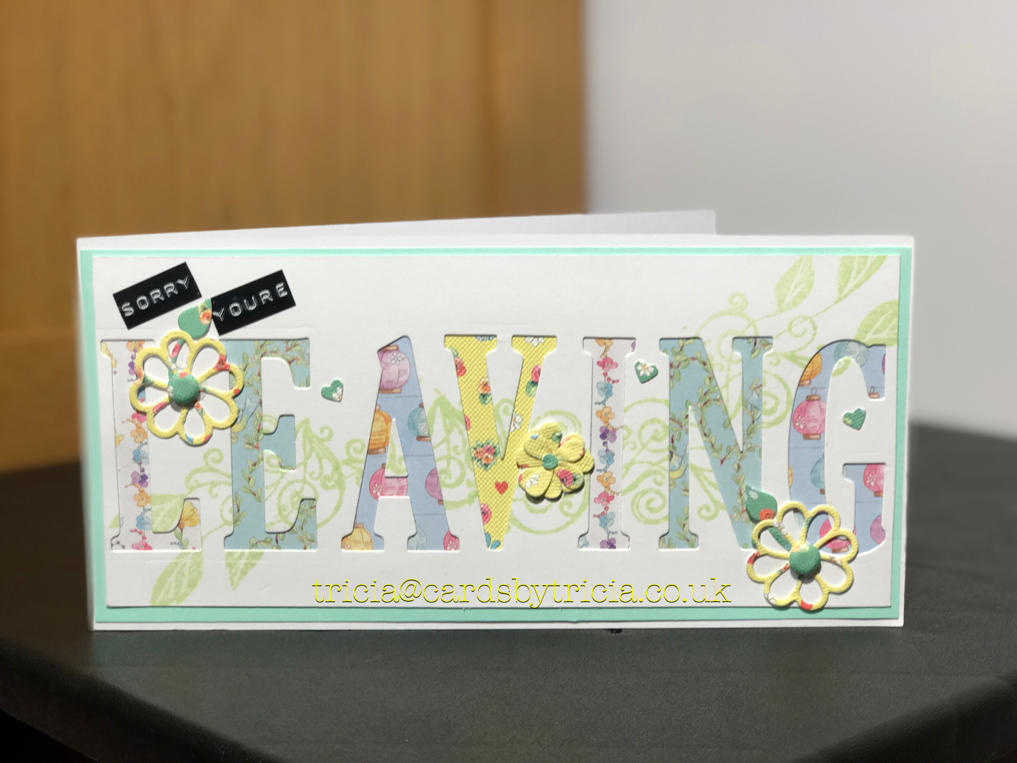 Stampin up large letters sorry youure leaving handmade card