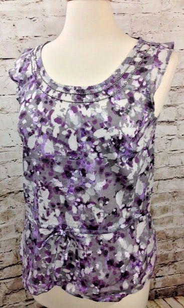 cf5ed3b0579 Ann Taylor LOFT Gray Purple Abstract Print Top Sz SP Beaded Neckline 100%  Cotton