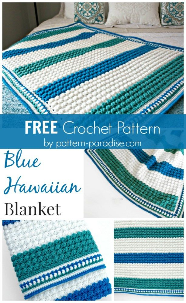 Free Crochet Pattern: Blue Hawaiian Baby Blanket | Pattern Paradise ...