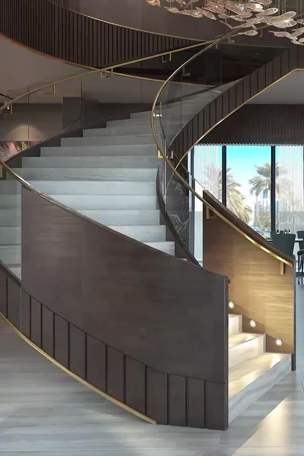 Luxe staircase room with living room sitting desig