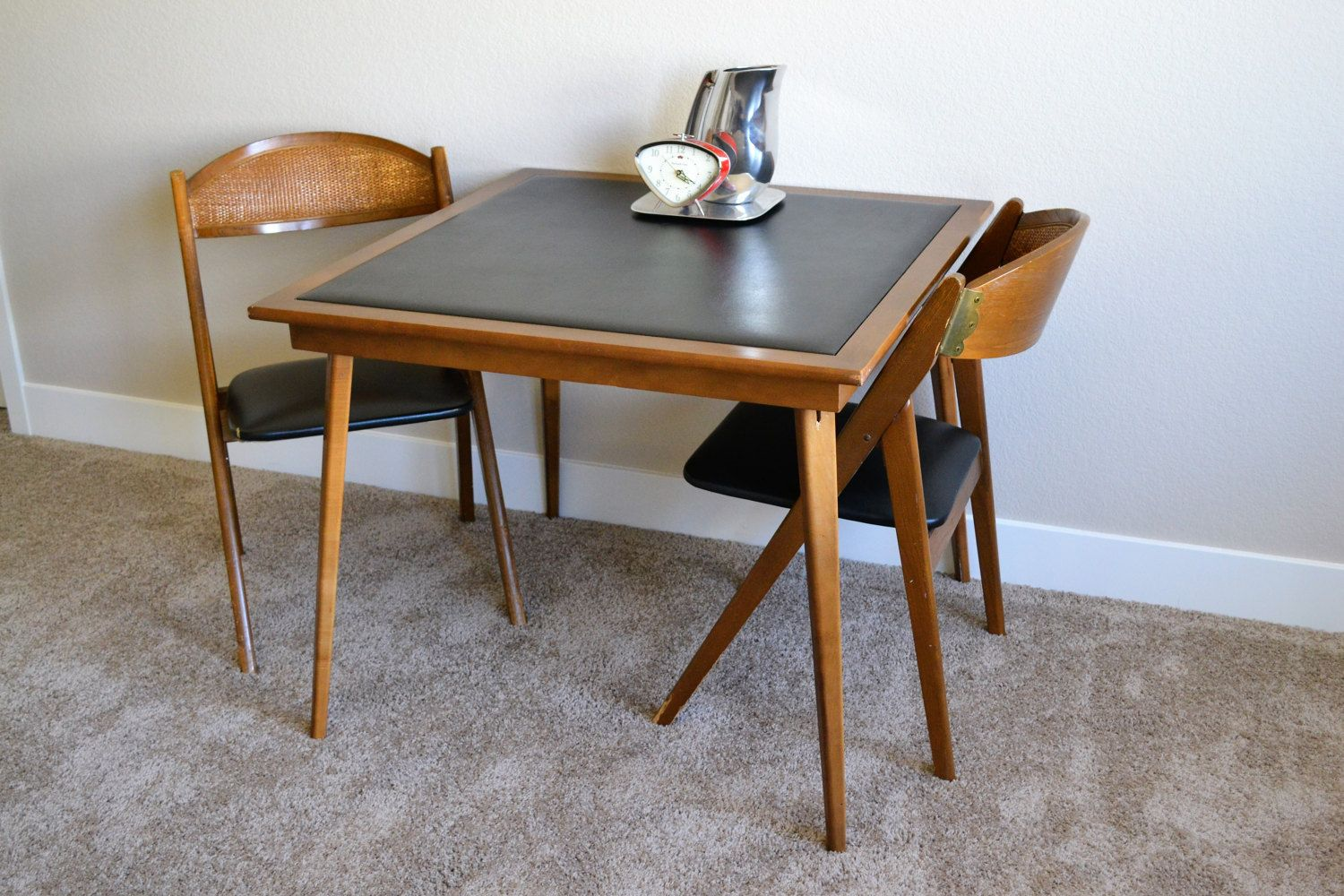 Vintage Stakmore Folding Table Two Chairs Danish Furniture Table