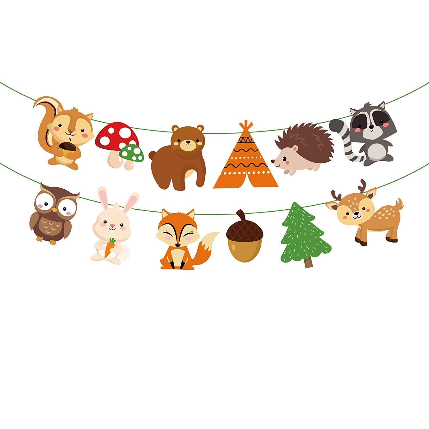 Party Banner Bunting Autumn Fall Woodland Forest Animals Fox Baby Shower