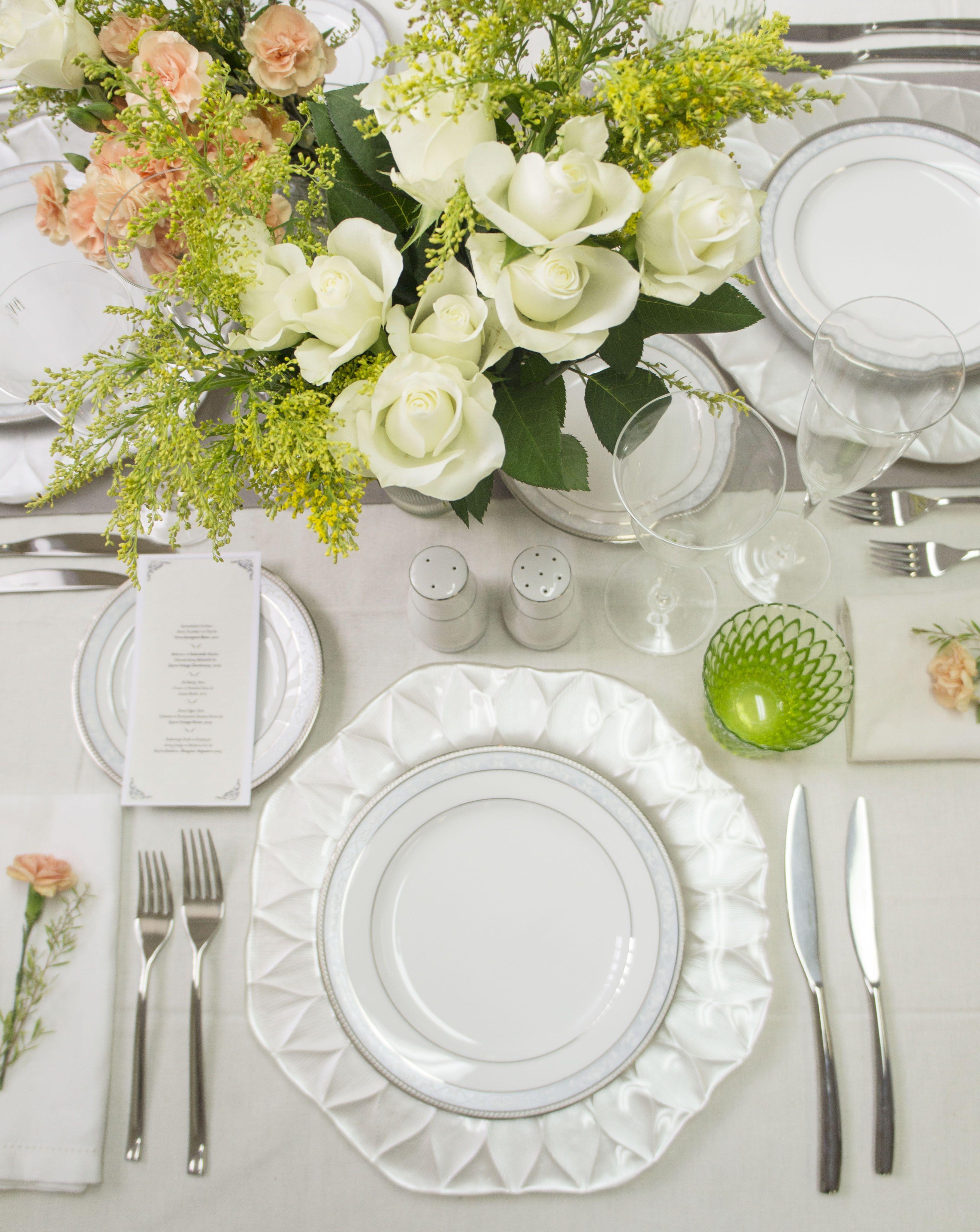 Perfect bridal table setting. Noritake Hampshire Platinum dinner set ...