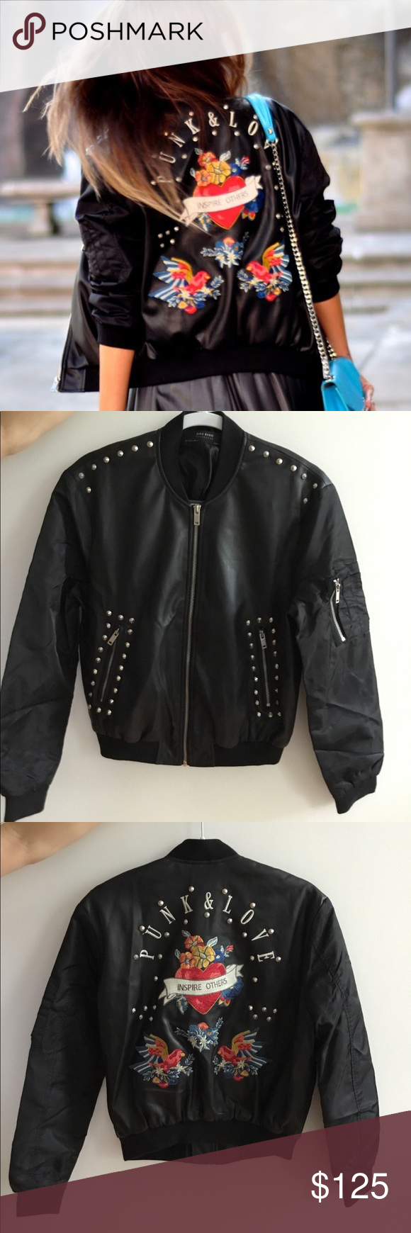 Zara Punk Love Studded Bomber Jacket Zara Leather Jacket Floral Bomber Jacket Zara Denim Jacket [ 1740 x 580 Pixel ]