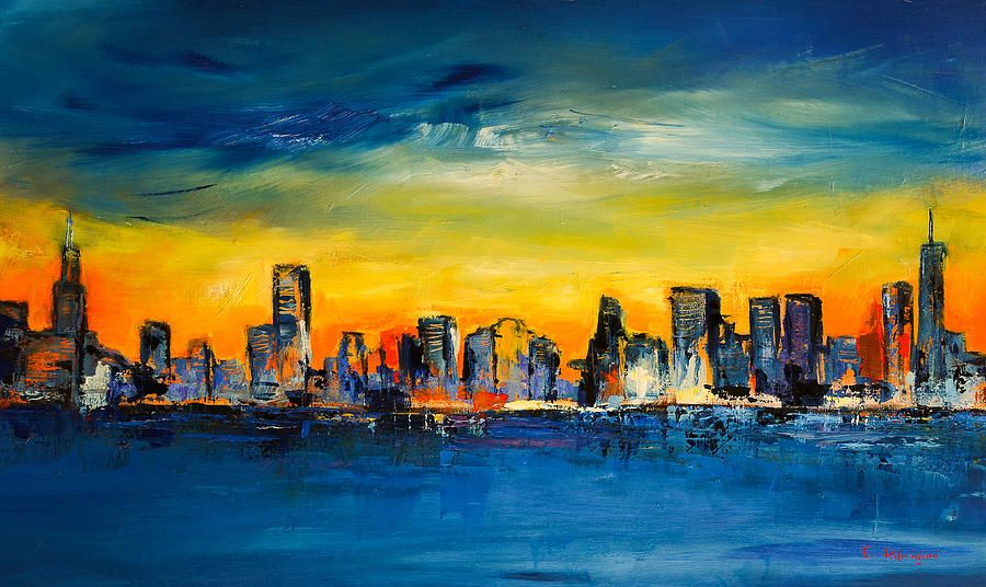 Chicago Skyline Painting by Elise Palmigiani | arte< escultura, y ...