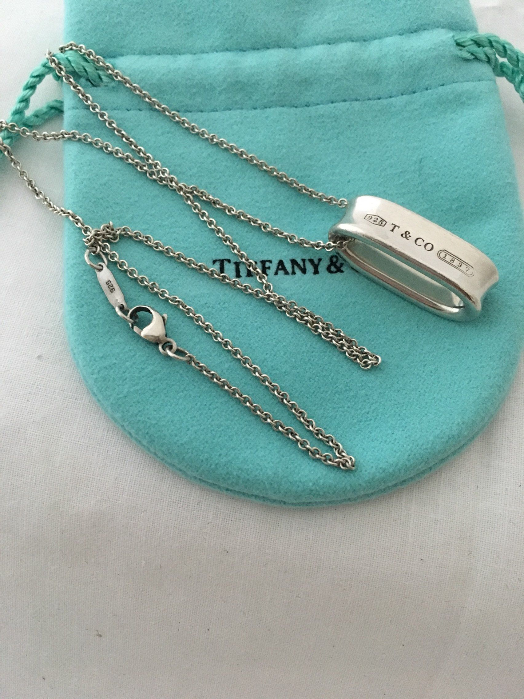 4faee6ce6 Excited to share the latest addition to my #etsy shop: Tiffany and Co 925  Authentic Sterling Silver Chain Necklace Oval Concave Loop Pendant Chain 18""