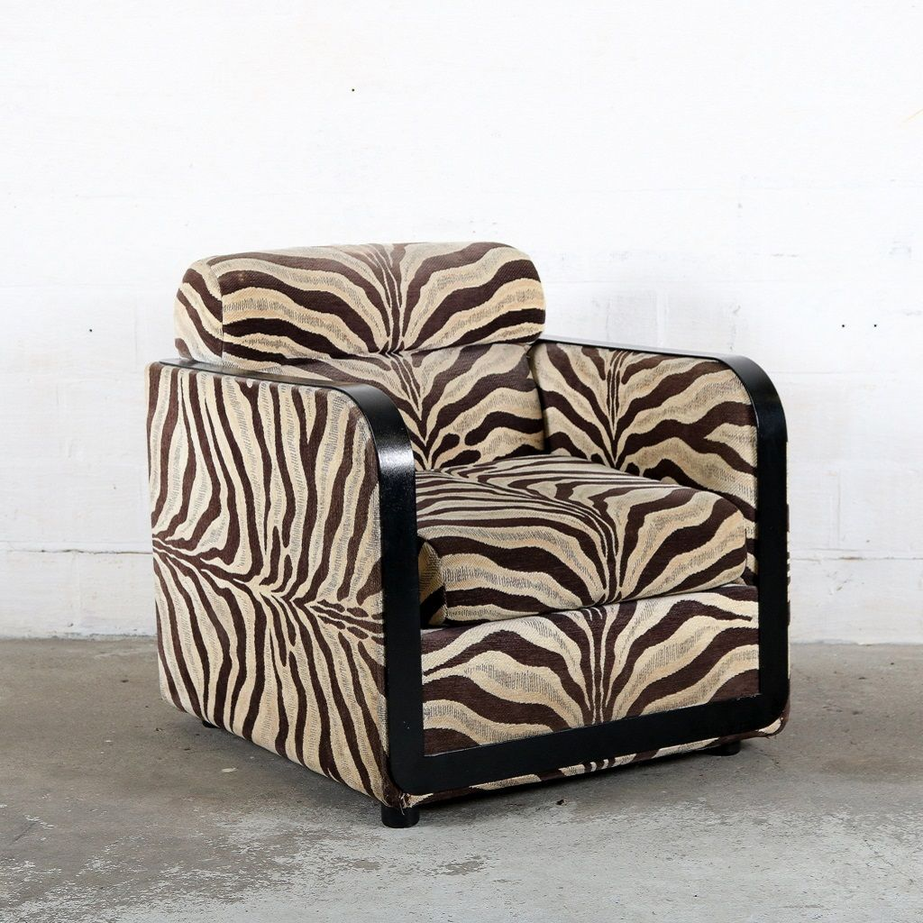 Mid Century Zebra Print Club Chair