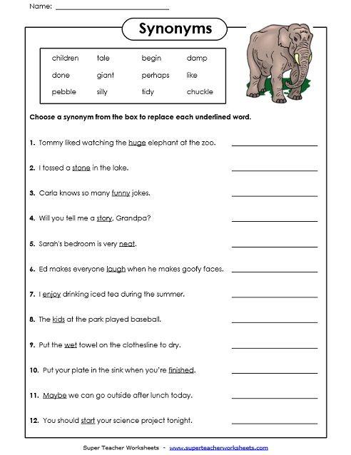 Synonyms Worksheet | synonyms | Pinterest | Worksheets, Homeschool ...