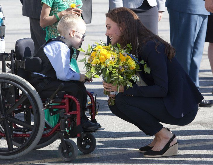 Pin for Later: The Duke and Duchess of Cambridge's Most Precious Moments With Kids  Kate shared an especially sweet moment with a little boy before departing from the Yellowknife airport in Canada in July 2011.