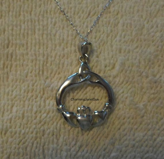 STERLiNG Silver CLADDAGH NECKLACE on a 925 by CharmingJanetSue