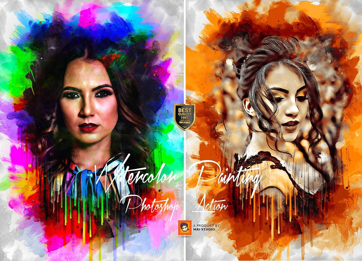 Watercolor Painting Photoshop Action By Mri Studio On