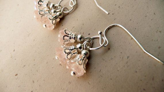 Pink glass flower cluster dangle earrings No 119 by VerdigrisGifts, $16.00