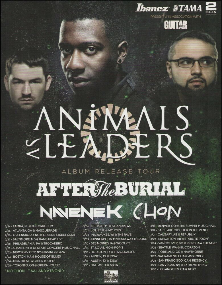 Animals As Leaders Tosin Abasi 2014 Tour Dates Advertisement 8 X 11 Ad Print Ibanez In 2020