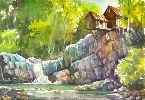 Dessin et peinture - vidéo 1995  Une cascade sous un paysage d