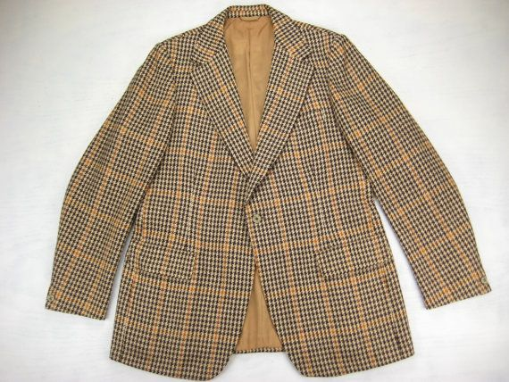 1970s Austin Reed And John Weitz Vintage Houndstooth Guncheck Wool Sport Coat Size 42 44 Long Vintage Jacket Vintage Clothing Men Vintage Men