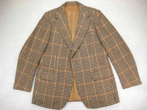 1970s Austin Reed And John Weitz Vintage Houndstooth Guncheck Wool Sport Coat Size 42 44 Long Vintage Jacket Vintage Clothing Men Vintage Men