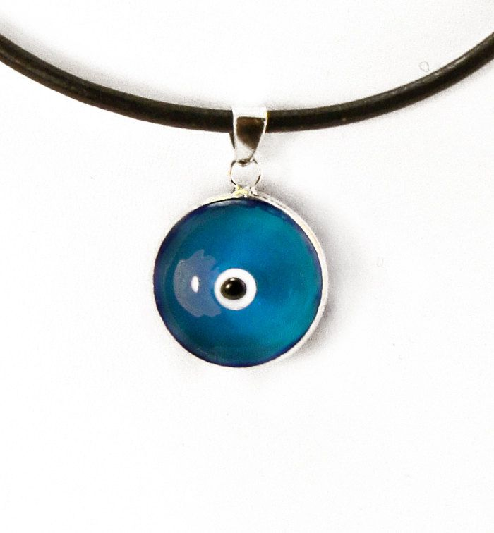Large evil eye necklace sterling silver large evil eye pendant blue large evil eye necklace sterling silver large evil eye pendant blue eye charm 18mm mati hamsa aloadofball Images