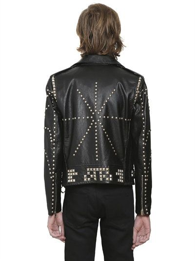SAINT LAURENT - PERFECTO STUDDED LEATHER JACKET - BLACK  a138e1470dc