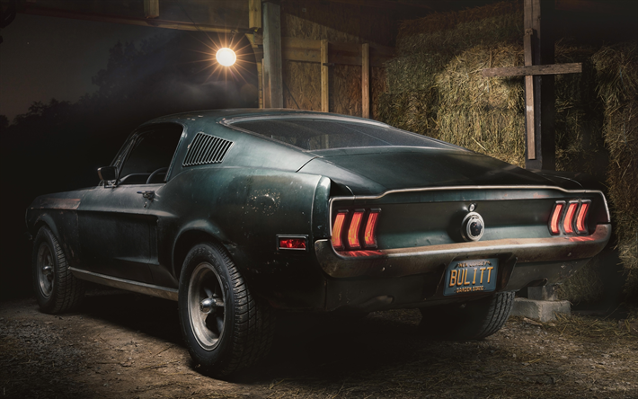 Download Wallpapers Ford Mustang Bullitt 4k Garage 1968 Cars