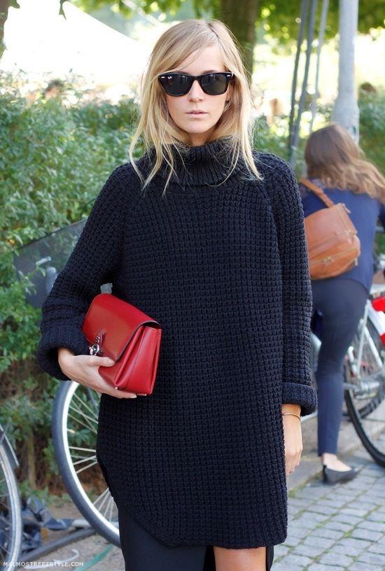 Black Chunky Knit Sweater Dress Personal Style Pinterest Black