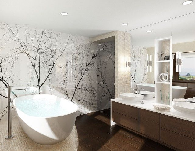 bad ohne fliesen wand glaspaneele dekorativ holzboden | Bad ...