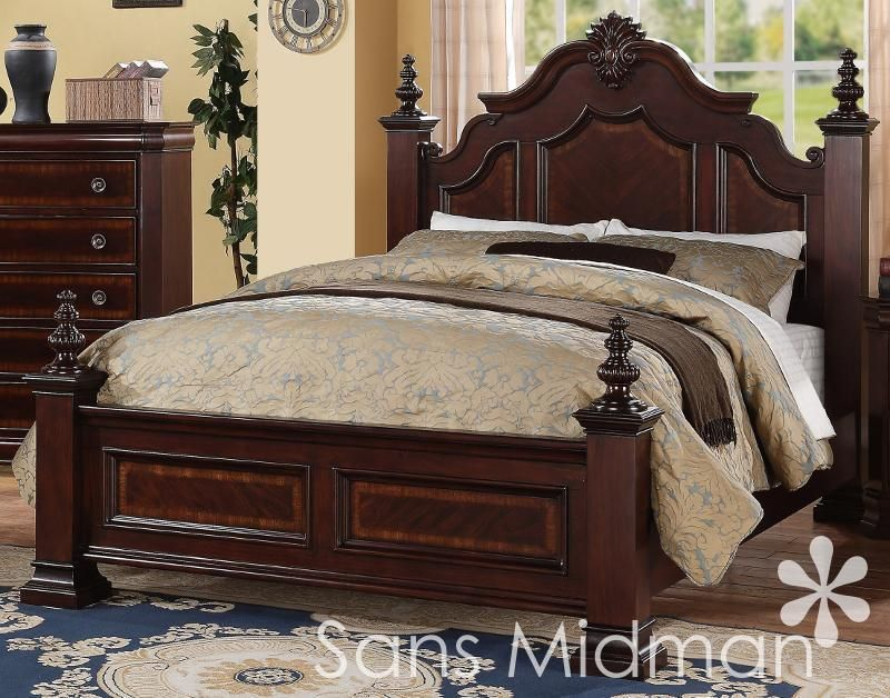 New Chanelle King Size Bed Set 2 Pc Traditional Cherry
