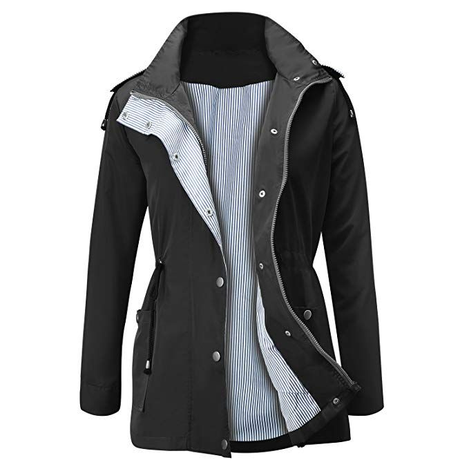 f73730a25f8 FISOUL Raincoats Waterproof Lightweight Rain Jacket Active Outdoor Hooded  Women's Trench Coats