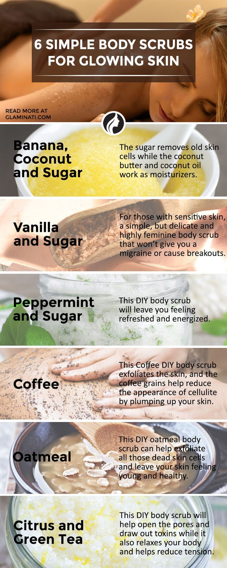 6 diy body scrubs that will make your skin glow - infographic