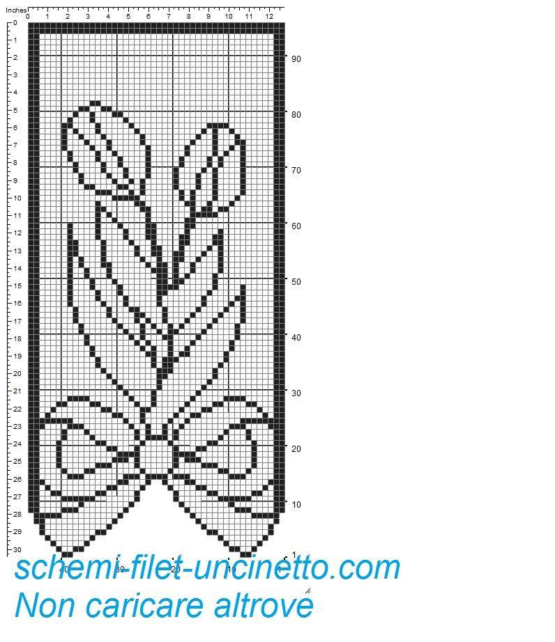 Tenda con fiocco e tulipani schema filet gratis 1 | Tende a filet ...