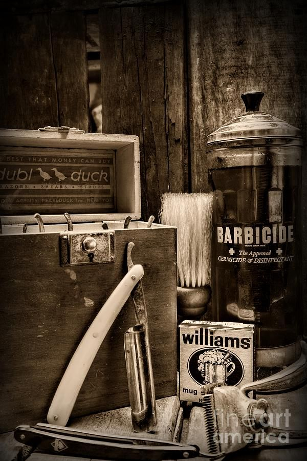 Barber Vintage Barber Tools Black And White By Paul