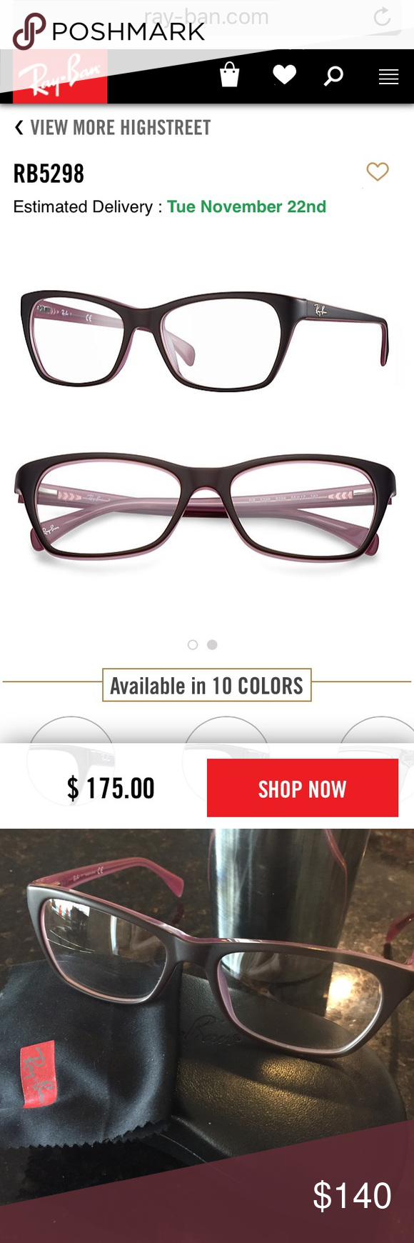 Ray-Ban RX Frames •   Conditioning, Brown and Models