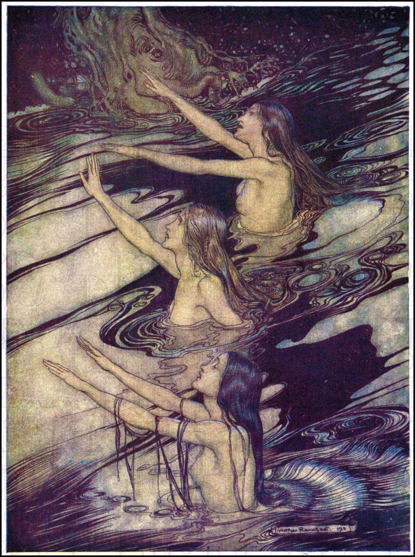 Photo of Arthur Rackham MERMAIDS. VINTAGE Fairy Tale DIGITAL Illustration. Digital Download. Vintage Digital Print