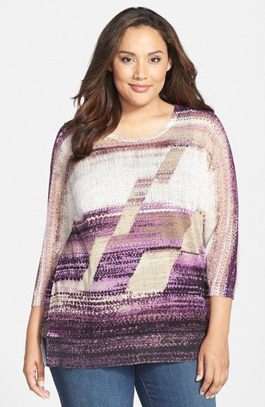 NIC+ZOE 'Lavender Bliss' Print Knit Top (Plus Size)